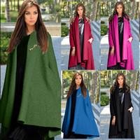 Wholesale European High end Fashion Women Wool Coat Batwing Sleeve Long Woolen Outwear Woolen Shawl Open Stitch