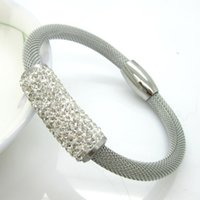 alloy steel pipes - 2016 Hot Sell Women Fashion Jewelry Bent Pipe With Rhinestone Stainless Steel Bracelets