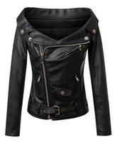 women black short leather jacket - European brand design womens sexy strapless leather jacket black motorcycle PU the leather coat fashion new winter woman short leather clo
