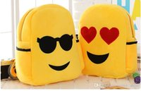 Wholesale Many styles Popular Style QQ Expression Emoji Smiley Kids School Bags Children Boy Girl Yellow Plush backpacks Christmas Gift Birthday Gift