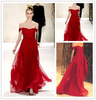 Wholesale Long Scarlet Red Dress by Monique Lhuillier Sexy Off the Shoulder Evening Gowns Chiffon Prom Dresses Floor Length Party Dresses