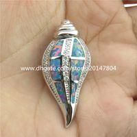 australian beach - 20317 Sterling Silver Ocean Beach Theme CZ Snail Lucky Australian Opal Pendant