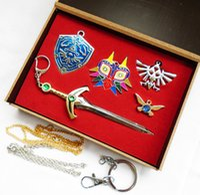 Wholesale The legend of Zelda Pendant Necklace Jewelry Keychain Toy Kit set box
