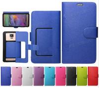 Precio de Teléfonos celulares casos de cuero-Universal Wallet litchi PU Flip Funda de cuero de la tarjeta de crédito para 3.5 a 5.7inch teléfono celular del teléfono móvil
