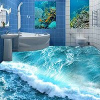 bathroom floor paint - Environmental self adhesive stickers D stereoscopic painting waves floor Toilet Bathroom Kitchen Bedroom applicable shipping speed hair