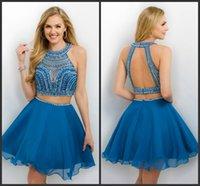 Pacific Blue gasa una línea vestidos del regreso al hogar sin mangas 2016 de la joya Dos Piezas Vestido de coctel formales EG Blush 238 vestidos del partido corto rebordear