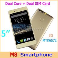Cheap 50pcs Free DHL M8 Dual Core MTK6572 Smartphone 3G 5'' Android WIFI Phone Dual SIM Camera 854*480 px Cellphone With Free Case