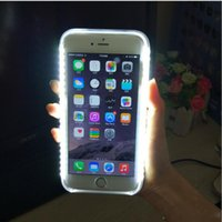 Wholesale LED light Up Selfie Phone Case Luminous Back Cover Shell Cases Illuminated For iphone S Plus SE s Retail Box