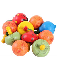 Wholesale Childrens Shop Wooden Fruit Play Gyro wooden toy Spinning Tops Fr Baby Kids A00051 SMAD