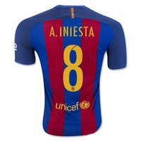 Wholesale Top thai Black jerseys MESSI ARDA A INIESTA SUAREZ SERGIO PIQUE I RAKITIC NEYMAR JR soccer jersey home and away