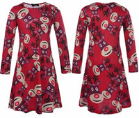 Wholesale New Christmas family matching clothes long sleeve deer print Mother Daughter Dresses Family look mother and daughter clothes