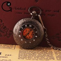 best boxing gear - GR Mechanical Pocket Watch Gears Hollow Roman Numeral Skeleton Watch Pocket Chain Chain Clock With Best Gift Box
