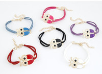 Wholesale New Women s charm leather bracelets Retro Animal Owl Decoration Faux Leather Charm bangle Bracelet for Christmas New Year Gift