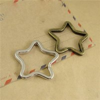 Wholesale 40Pcs Silver Tone Or Antique Bronze Metal Star Split Key Rings x35mm for Key Chain Jewelry Making Components