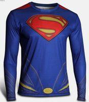 Wholesale Plus Size XS XL Training Sport Jersey Super Hero Jersey Long Sleeves Sport T Shirt Men Marvel Captain America T shirt Soldier Costume