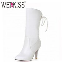 Cheap Brand Winter Boots Elegant Sexy Cross Bandage red Fashion Women Short Boots Sexy Fall Winter Boots Shoes Size 32-43 Woman Shoe
