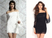 bell trade - 2016 spring models lace collar dress sexy nightclub Europe and foreign trade skirt strapless trumpet sleeves