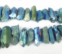 aqua quartz beads - Titanium Aqua Crystal Quartz Beads Point Pendants Raw Healing Gems stone Spikes Top Drilled Briolettes Rock Women Necklace Jewelry Making