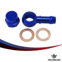 Wholesale PQY RACING ALUMINUM BLUE Fuel Pump mm quot Push On Outlet Banjo Adapter Fitting Cap PQY FK044BL