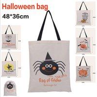 Wholesale Kids Canvas Lunch Bags - 2016 Kids Halloween Canvas Bag Candy Bag Children Party Easter Pumpkin Squash Handbag Trick Or Treat Shoulder Bag Lunch Bag Xmas Gift