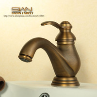 antique lavatory faucets - Antique Brass Bathroom Faucet Vesssel Sink Basin faucet Mixer Tap Single Handle Lavatory Faucets Cold Hot Water taps