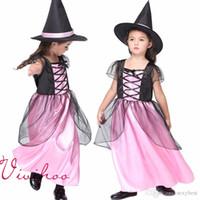 al por mayor niñas de halloween traje rosado-Niños Fairy Cosplay trajes Chicas Pink Gauze vestidos con sombrero de brujas de ala Víspera de Todos los Santos Halloween Party Fits Carnival Fance Dress
