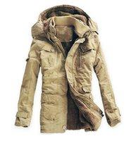 Wholesale Plus Size Size M XL New Men s Slim Long Cotton Thick Winter Snow Warm Jacket Faux Fur Coat Parkas Free Ship