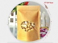 Wholesale 17 cm kraft paper bag with round window valves bags self stand bag tea leaf bag