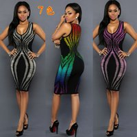 Wholesale Sexy Printing Bandage Nightclub women dress slim color printed sheath summer dress