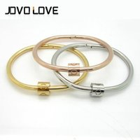fashion jewelry usa - Export Europe Style Bracelet and USA Stainless Steel Fashion Jewelry Screw Clasp Love Couple Bracelets Bangles