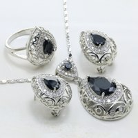 Wholesale Silver Plated Zinc Alloy Tray Artificial Cubic Zirconia Black Main Stone Drop Shape Pop Women Wedding Jewelry Set S185B
