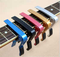 Wholesale 200pcs Electric Acoustic Guitar Capo Bass Violin Ukulele Capo Single handed Tune Clamp Trigger Material Metal SF EMS ship