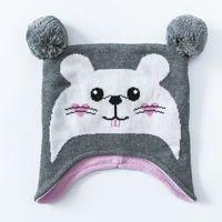 ash knitting - Ash Baby Hamster Hat Cotton Embroidery Crochet Baby Beanies Kids Fall Winter Warm Baby Cap Handmade Knit Windproof Earmuffs Cap