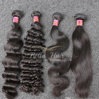 Wholesale 70 off A Brazilian Hair Bundles Dyeable Natural Black Color Straight Body Wave Deep Wave Loose Deep Wave Virgin Human Hair Weave