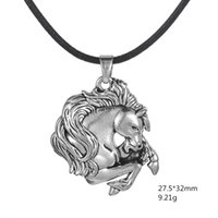 antique leather horse - My Shape Fashion Jewelry Vintage Leather Cord Zinc Alloy Antique Silver Plated Wild Horse Head Pendant Necklace