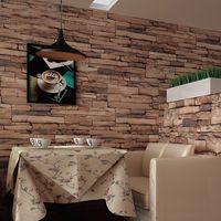 Fond d'écran d'ardoise France-Papier peint de brique de vinyle Papier peint d'ardoise 3D papier peint en relief de brique Papier peint imperméable d'eau de rouleau Home Decor pour la salle de bains