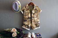 Cheap Clothing Sets Baby Kids boys Camouflage short-sleeved shirt + T-shirt + shorts Suit Children 3 pcs set wholesale
