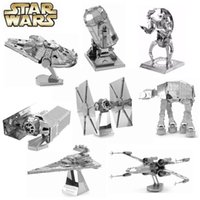 Wholesale Full Set Star Wars D Metal Puzzle For Children Assemble DIY IQ Brain Jigsaw Puzzles X Wing AT Fighter Educational Kids Toys