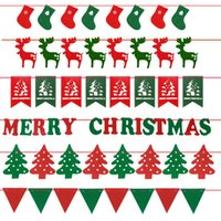 Wholesale Feliz Navidad Merry Christmas Banner Christamas Decoration Hanging Flag Items Festival Ornament Supplies Letter Deer Socks Tree Triangles