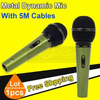 Wholesale Professional Green Metal Meters Wired Karaoke Dynamic Microphone Cardioid Handheld Vocal Mic Microfone Microfono
