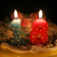 Wholesale Birthday candle number0 with five pointed decorative wax candles for the birthday cake decoration smokeless tasteless velas H210495