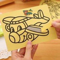 art design toys - 100pcs A cm Sand Painting With Color Sand Kids DIY Toys Mixed Design Send Sand Art Kit jy306
