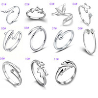 angels fox - Fashion Design Silver Rings Women Jewelry Ring Dolphin Dragonfly Angel Wing Love Fox Butterfly Rings Adjustable