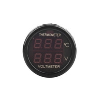 Wholesale 2 In Car V Red Blue Dual Display LED Dual Digital Thermometer Voltmeter Temperature Meter