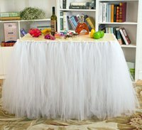 Wholesale Customized pink table skirt Handmade Solid ruffled table skirt with little flower for Wedding Birthday Party