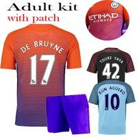 Wholesale 2016 Manchester City kit Suit Jerseys home Blue Away Black KUN AGUERO SANE GUNDOGAN Shirts