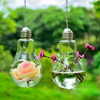 Wholesale Glass Bulb Lamp Shape Flower Water Plant Hanging Vase Hydroponic Container Pot Office Wedding Decor