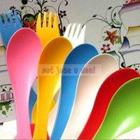 Wholesale 3 in Spoon Fork Knife Cutlery Set Camping Hiking Utensils Spork Tableware