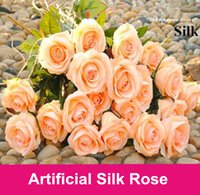 artificial floral designs - 100pcs Decor Rose Artificial Flowers Silk Flowers Floral Latex Real Touch Rose Wedding Bouquet Home Party Design Flowers