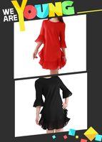bell mini skirt - Fashion Women Girls Mini Casual Chiffon A Line Dress Skirts Flounced Half Sleeve Flared Cuffs Round Neck Red Black ED000001